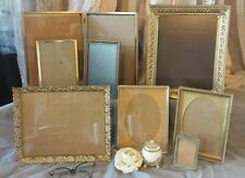 Lot of 8 Vtg ornate gold Picture photo FRAMes assorted wedding brass bifold set
