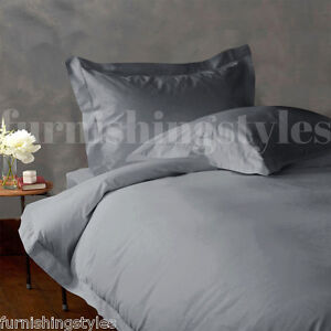 LUXURY T200 EGYPTIAN COTTON GREY COLOUR FITTED SHEETS FLAT SHEETS PILLOW CASES