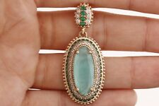 Turkish Hurrem Jewelry Long Oval Aqumarine Emerald 925 Sterling Silver Pendant