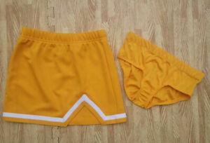 NEW Girl S 6-8 REAL Gold Cheerleader Uniform Skirt & Brief  Cosplay Halloween