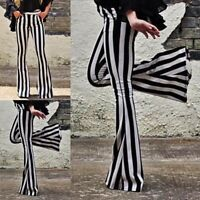 Womens Yoga Striped High Waist Flare Wide Leg Chic Trousers Bell Bottom Pants