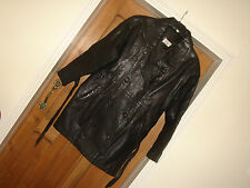 vintage 1970s 1980s black real leather coat large size 10 good condition retro