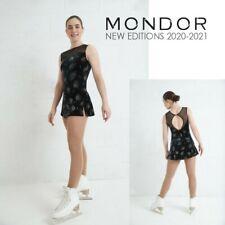 MONDOR Black Glitter Sleeveless Velvet Figure Skating Competition Dress Adult XL