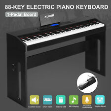 Black Classic 88 Key Music Electric Digital LCD Piano Keyboard with Pedal Board