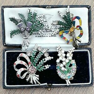 JOB LOT 4X VINTAGE SIGNED EXQUISITE WHITE HEATHER THISTLE SCOTTISH PIN BROOCH