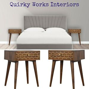 Pair Quirky Bedside Tables Cabinets Chestnut & Gold Danish Retro Vintage Style