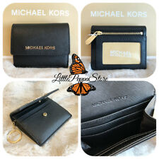 NWT MICHAEL KORS LEATHER JET SET TRAVEL CARD CASE ID KEY HOLDER IN BLACK