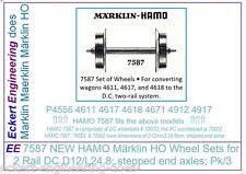 EE 70053 NEW Märklin HO DC Wheel Sets 700530 Hamo 7587 D12/L24.8mm Pk/2