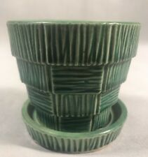 """PV02820 Green McCoy BASKETWEAVE Planter with Attached Saucer 3 1/4"""""""