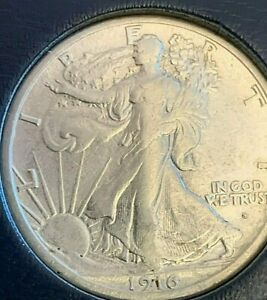 1916 S Obverse Walking Liberty silver half dollar, high grade Rare