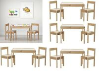 Ikea LATT Children's Table with 2 Chairs Wooden Pine Wood Kids Furniture Set New