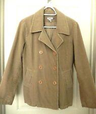IZOD Double Breasted Pea Coat Corduroy Jacket, Lined-M, beige