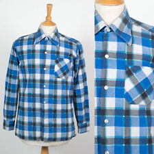 70'S VINTAGE MENS SHIRT FLANNEL BLUE CHECK PATTERN BIG POINTY COLLAR MOD S