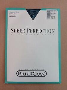 Montgomery Ward Round the Clock Sheer Perfection Pantyhose Navy szA vintage 1990