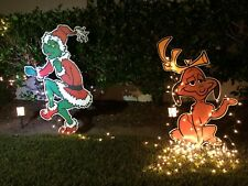 Grinch & Max the dog Stealing Christmas Lights Yard Art - Free Shipping!