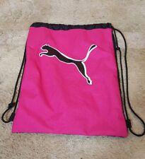 "Puma Carry Sack Gym Bag Drawsting Expandable Ball Pocket Pink Black 18"""
