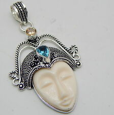 Carved Bone Face 925 Sterling Silver Jewelry Vintage Style Lovely Pendant 11g B2