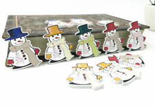 20pcs Christmas Mr. Snowman Wooden Buttons decoration Christmas Sewing 35mm