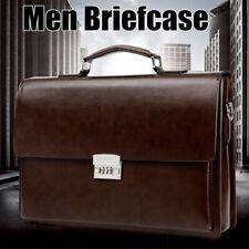 Men PU Leather Business Briefcase Handbag Laptop Messener Shoulder Travel Bag
