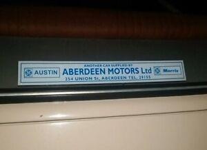 Aberdeen Motors Austin Morris Replica Leyland Dealer Sticker Morris Marina Mini