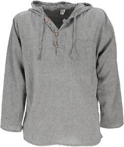 Nepal Hemd, Goa Hippie Sweatshirt, Yogashirt, Schlupfhemd mit Kapuze - grau