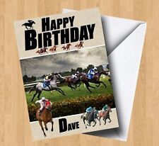 Personalised Horse Racing Birthday Card