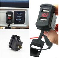 Car SUV Dual Port USB Charger Socket Panel Mount Jack Switch Voltmeter Red LED