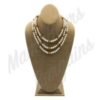 Vintage Faux Pearl & Beaded Fashion 3 Strand Necklace Ornate Round Box Clasp