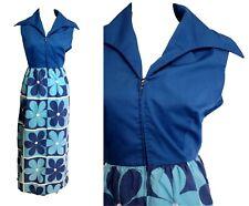 Retro Blue White Flower Power Maxi Dress Festival Hippy 70s Evelyn Pearson 60s