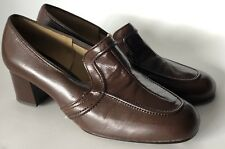Charm Step Vintage Size 6.5 W Dark Brown Heels Pumps 60's 70's Mod Dead Stock