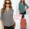 Summer Women Loose V Neck Chiffon Long Sleeve Blouse Casual Collar Shirt Tops
