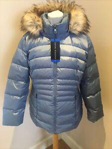 Womens Andrew Marc Jacket Size L Blue Dusk Padded Hood Casual Jacket NWT