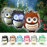 Toys Cute Owl Keyring Luminous Voice Keychain LED Light Flashlight Key Chain bx