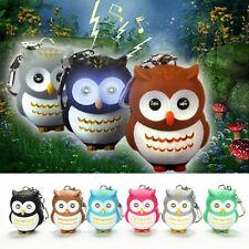 Toys Cute Owl Keyring Luminous Voice Keychain LED Light Flashlight Key Chain HF