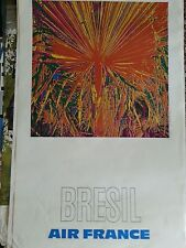 brasil 1971 Raymond Pages Air France Bresil Poster 19.5x19.5 signed original
