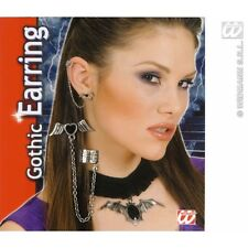 GOTHIC BLACK HEART W/WINGS EARRINGS for Emo Goth Vampire Halloween Accessory