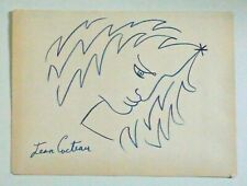 JEAN COCTEAU -- A 1950s CRAYON DRAWING OF A MAN, FRANCE, FRENCH, SIGNED, HISTORY