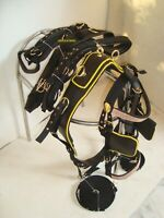 Attractiv Black Synthetic Nylon Driving harnes with yellow piepin -Single horse