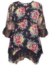 Joe Browns BLACK Floral Print Floaty Feminine Lace Trim Tunic Plus Size 14 to 32