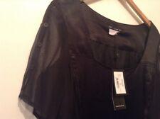 BNWT ❤️Alain Weizmann ❤️Size 18 Black Silky Dress (44 EU) FR 46 Mesh Sleeves NEW