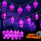 Halloween Skull Decoration String Lights 20LED Outdoor and Indoor with Remote Co