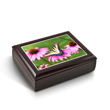 A Gentle Tiger Swallowtail Butterfly & Gerbera Daisies Tile Musical Jewelry Box