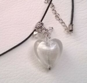 25mm Clear Glass Heart Necklace / Pendant