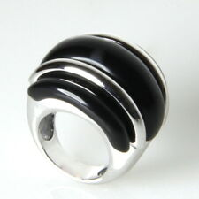 Fabine Rhodium Plated Large Black Resin Fashion Statement Cocktail Ring Size 7