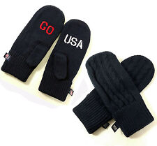 Go Team USA Olympic Blue Cable Knit Red White Embroidered Mittens One Size Adult