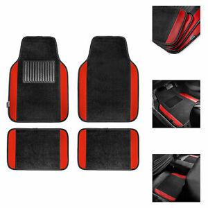 4pcs Carpet Floor Mats for Auto Car SUV Van Motors Full Set Red Black