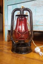 Vintage Lenora Kerosene lamp, prob.1940's red glass aviation runway marker.