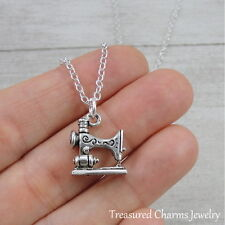 Silver Sewing Machine Charm Necklace - Seamstress Quilting Pendant Jewelry NEW