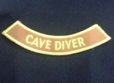 """CAVE DIVER 4"""" rocker Iron-on adventure Certificate Embroidered Patch Scuba brown"""