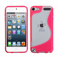 For iPod Touch 5th & 6th Gen - HARD RUBBER SILICONE GUMMY CASE SKIN PINK CLEAR S